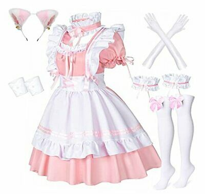 $58.75 • Buy Anime French Maid Apron Lolita Fancy Dress Cosplay Costume Furry XX-Large Pink