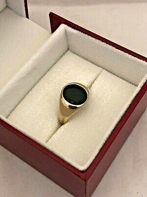 £168 • Buy Vintage 9ct Gold Signet Ring Set With Green Blood Stone Size P/Q Birm.1953 5.5g