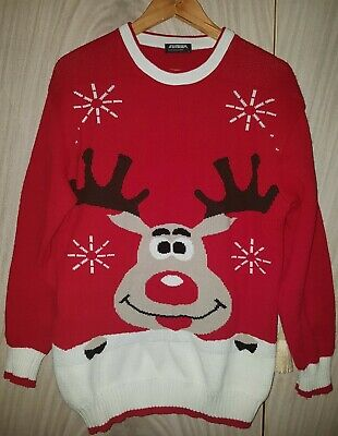 £16 • Buy Novelty XMAS Jumper Size Large Mens Womens Reindeer Rudolph