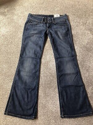 £22 • Buy Pepe Jeans London Pimlico Flares Bootcut Low Rise Sculpting W32 L32 Blue Y2k New