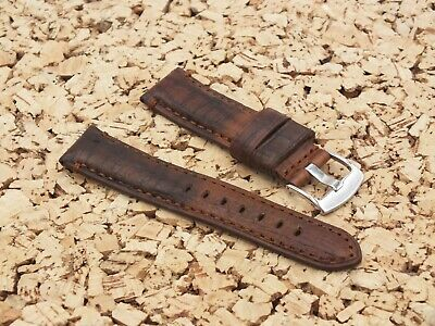 £3.99 • Buy TZEVELION Antiqued French Leather Buckskin Lined Watch Strap 22mm Brown
