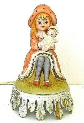 $ CDN25.07 • Buy Portable Porcelain Lamp Girl With Doll 7  Tall Vintage Underwriters Laboratories
