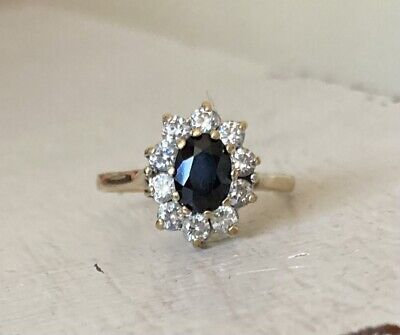 £59 • Buy 2.4g 9ct Gold Oval Sapphire & CZ Halo Cluster Ring Size O