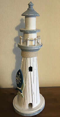 """£9.99 • Buy Shabby Chic Wooden Lighthouse Ornament ( Just Under 17"""" High )"""