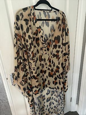 AU7.46 • Buy Leopard Print Dipped Hem Sheer Maxi Kimono / One Size - Fit Up To Uk 20 - New