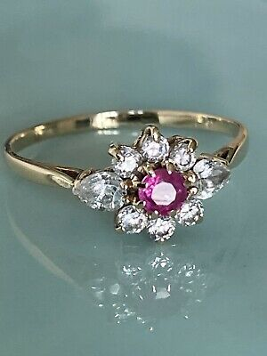£89 • Buy Stunning Vintage Ladies 9ct Gold Ruby & White Sapphire  Cluster Ring, Size Q
