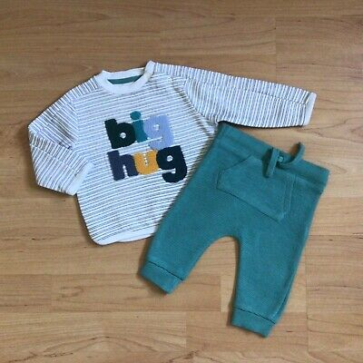 £1.85 • Buy Baby Boy Clothes 0-3 Months Outfit Big Hugs Stripy Top Matching Bottoms Set