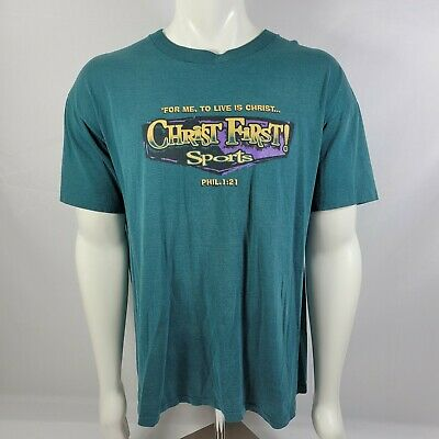 $ CDN30.21 • Buy Vintage Jesus First Single Stitch Double Sided Graphic T-shirt Christian 90s