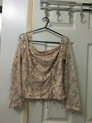 £0.99 • Buy Shiny Sequence Crop Top / Blouse Size 10