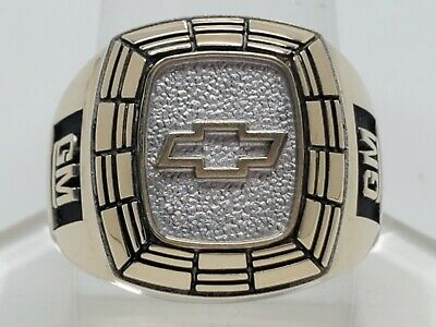 $999.99 • Buy Mens 10k Solid Yellow & White Gold Chevrolet Chevy GM Heavy Ring Size 9.75