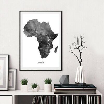 AU10.86 • Buy Africa Map Poster Art Print Watercolor Canvas Painting Travel Gifts Wall Decor