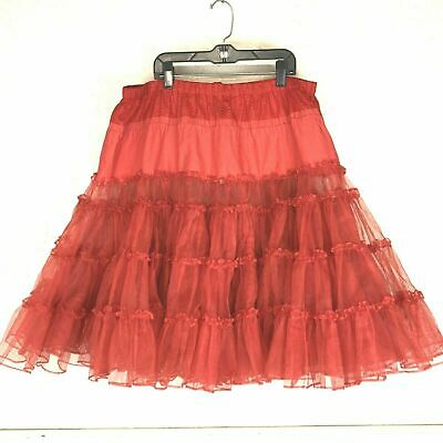 £25.42 • Buy Vintage Petticoat Skirt Red Lace Tulle Nylon Layered Underskirt Dress Jaques EUC