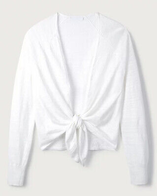 £14.50 • Buy The White Company White Cotton Linen Tie Front Cardigan UK 10