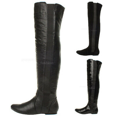 £13.99 • Buy Womens Ladies High Over The Knee Wide Stretch Pull On Flat Low Heel Boots Size