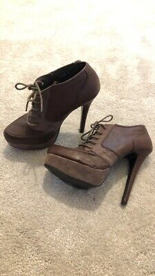 £3.50 • Buy Bank Brown Military Style Platform Stiletto Boots Size 5