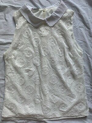 £2 • Buy Wal G Collared Lace Sleevless Top S