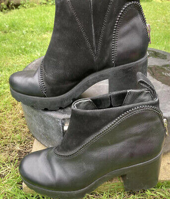 £2.50 • Buy Camper Platform Black Boots With Zip Decor Size 38 Used Leather