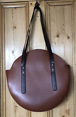 £10 • Buy ASOS Structured Large Round  Faux Leather Tan Brown Tote Shopper Shoulder Bag