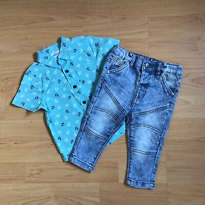 £1.85 • Buy Bab Boy 6-9 Months Clothes Blue Anchor Pattern Shirt With Matching Blue Jeans