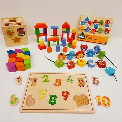 £11.99 • Buy Traditional Wooden Toy Bundle Puzzle Shape Sorter Threading Beads Building Block