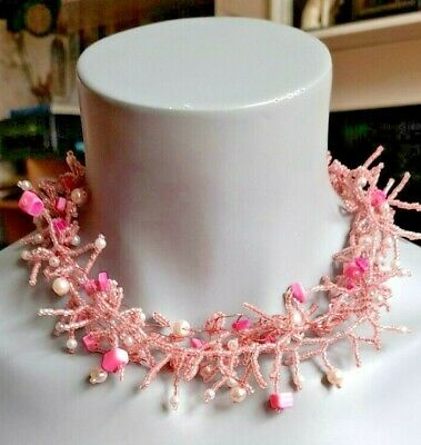 £2.75 • Buy Pink Beaded Cluster Summer Necklace