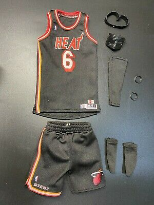 $95 • Buy Enterbay 1/6 Action Figure Lebron James Miami Heats Black Jersey With Mask