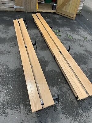 £95 • Buy 2 X Wooden / Metal Benches For Changing Room / Hallway / Log Cabin **look**