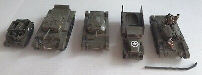 $30 • Buy 4 Military Tanks & 1 Transport Vehicle Diecast & Plastic Models WWII PARTS