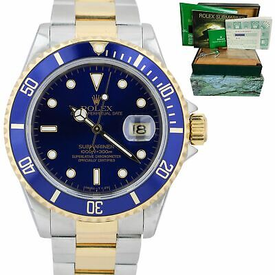 $ CDN13157.18 • Buy Rolex Submariner Date Two-Tone Steel Gold Blue 40mm Watch 16613 LB BOX PAPERS