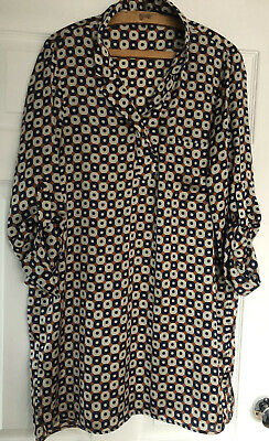 $27.81 • Buy ZARA  Geometric Tunic Dress Size XL Blue/ Gold Brown / White Excellent Condition