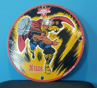 $ CDN180.94 • Buy Vintage Conoco Thor Gas Porcelain N-tane Gasoline And Oil Comic Pump Plate Sign