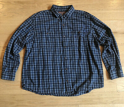 $14.99 • Buy Duluth Trading Co Mens Flannel Size 3XL Blue Plaid - Stains See Pics- Work Shirt