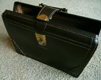 $200 • Buy Vintage 1950's Dark Tan Leather Doctor/Lawyer/Manager Briefcase  US  Yale Lock