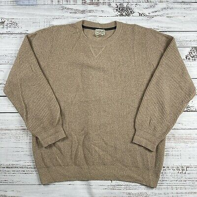 $25 • Buy LL Bean Men's  100% Cashmere Sweater Pullover Waffle Sz L 291648 Brown
