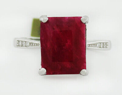 £1.63 • Buy GENUINE 3.79 Cts RUBY & WHITE SAPPHIRE RING .925 Sterling Silver * NWT Size 6