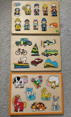 £4 • Buy 3 Wooden Jigsaw Puzzles Toddler Kids Childrens Wood Toys