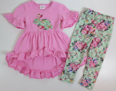 £7.27 • Buy Toddler Girls Outfit Size XS 2T Pink Applique Shirt Floral Leggings Bunny Easter