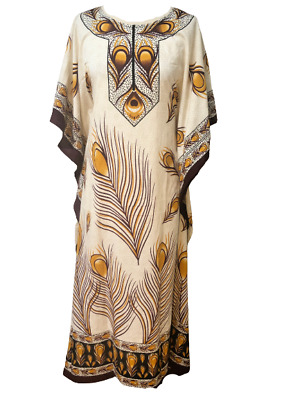 £0.99 • Buy Free Size Kaftan Tunic Holiday Dress Beach Cover Up Fits 14,16,18,20,22,24