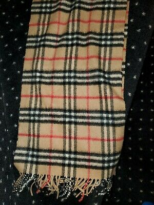 $100 • Buy Authentic Burberry Classic Check Cashmere Scarf In Beige-Never Worn