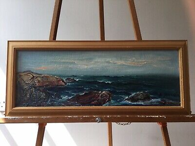 £15.99 • Buy Vintage Oil Painting On Board Sea Scape. Three Dimensional Sculptural Painting.