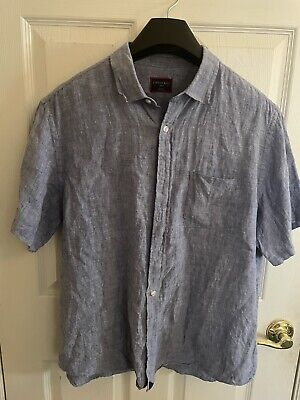 $24 • Buy Untuckit Blue Chambray Short Sleeve Button Front Shirt Solid Casual Mens Linen