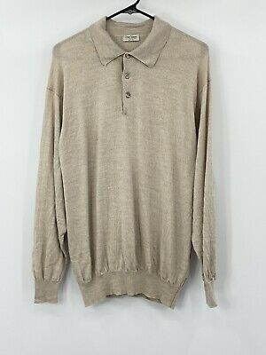 $49.99 • Buy Gran Sasso Mens Wool Cashmere Silk Pullover Sweater EU 52 US 42 Knit Oatmeal