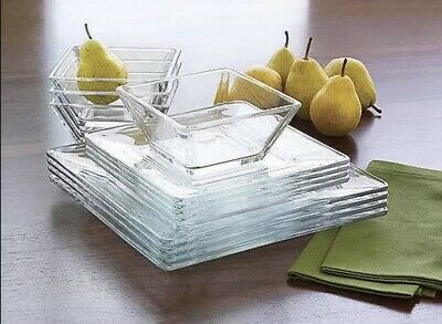 $49.95 • Buy 12 Piece Square Dinnerware Glass Clear Dishes Salad Plate Bowl Kitchen Set For 4