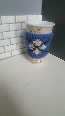 £1.35 • Buy Knitted Mug Cosy Knitted In Argyle Style Fair Isle Pattern