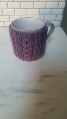 £1.35 • Buy Knitted Mug Cosy Knitted In Cable Pattern Button Fastening