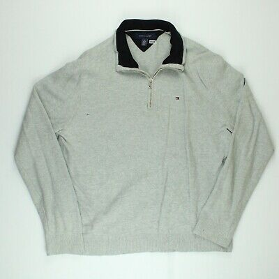£19.97 • Buy TOMMY HILFIGER Mens Jumper 1/4 Zip Sweater Knit Pullover Grey Size XL