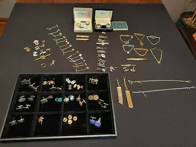 $29.99 • Buy Lot Of Men's Vintage Costume Jewelry Cuff Links Tie Clips Tack Pins Swank & More