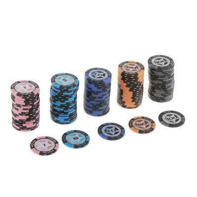 £30.98 • Buy 100 Pieces Chips Texas Hold'em Poker Chips Casino Game Token 1 5 10 50 100
