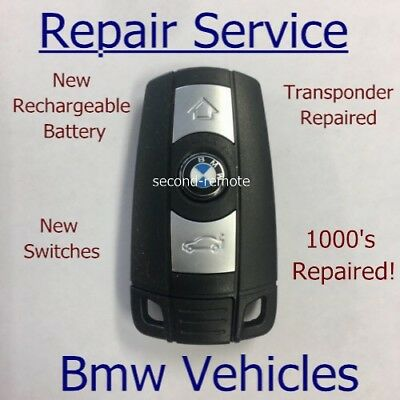 £24.99 • Buy Bmw 3 Button Remote Key Fix Fob Repair New Rechargeable Battery + New Case