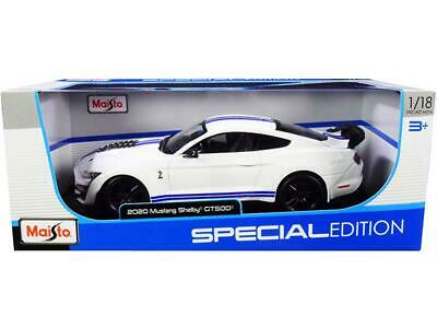$49.95 • Buy 2020 Ford Mustang Shelby GT500 White W/ Blue Stripes 1:18 Model - Maisto 31452WH